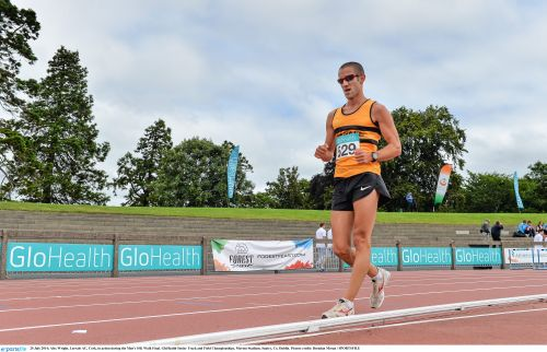 20 July 2014; Alex Wright, Leevale AC, Cork, in action during the Men's 10K Walk Final. GloHealth Senior Track and Field Championships, Morton Stadium, Santry, Co. Dublin. Picture credit: Brendan Moran / SPORTSFILE